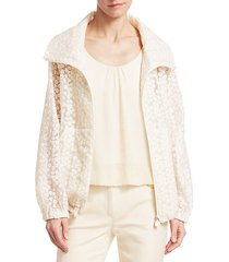 floral embroidered anorak jacket