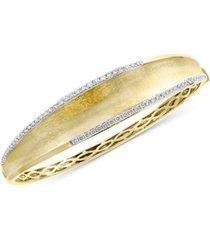 effy diamond textured bangle bracelet (3/4 ct. t.w.) in 14k gold