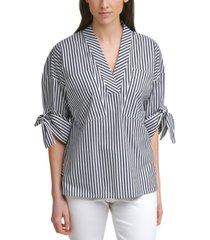 calvin klein striped tie-sleeve v-neck poplin top