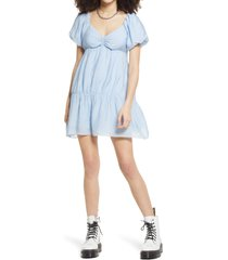 women's bp. puff sleeve taffeta dress, size small - blue