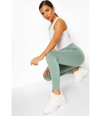 basic deep high waist tonal leggings, aqua