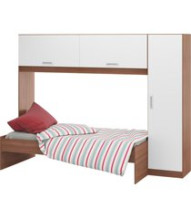 guarda-roupa c/modulo aéreo e cama carvalho avelã/branco 2650.952 multimóveis