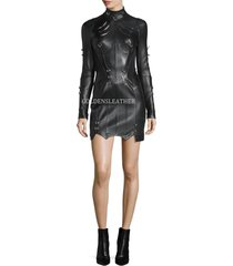 sexy lambskin leather dress cocktail party leather dress women leather dress-118