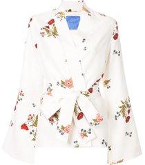 macgraw cognac robe coat - white