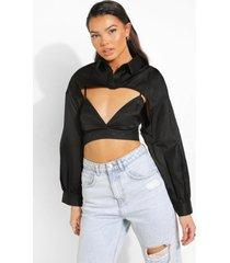 extreme bralette en korte blouse, black