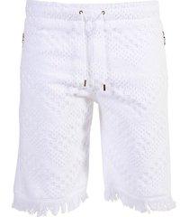 towel jacquard print shorts white