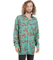 camisa asi-calado print turquesa haka honu