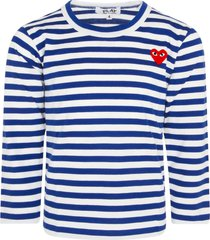 comme des garçons play white and electric blue striped t-shirt for boy with heart