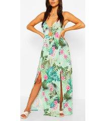 petite twist front tropical print maxi dress, green