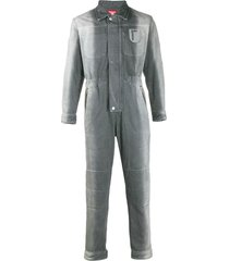 diesel red tag two-tone faded denim jumpsuit - grey