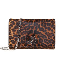 jimmy cho varenne clutch shoulder bag in leopard pony