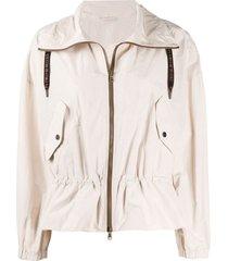 brunello cucinelli spread-collar light jacket - neutrals