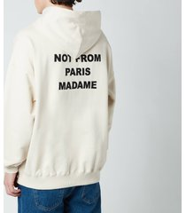 drôle de monsieur men's embroidered slogan hoodie - sand - xl
