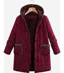 cappotto spesso a maniche lunghe con cappuccio stampato vintage