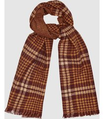 reiss jess - houndstooth checked scarf in nude/claret, womens