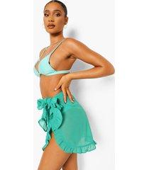 chiffon strand sarong met ruches, green