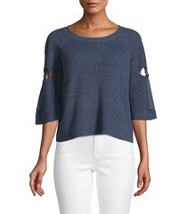 1.state women's ribbed cutout sweater - antique white - size m