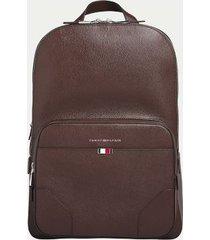tommy hilfiger men's flag leather backpack chestnut -