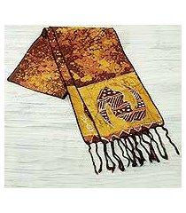 cotton batik scarf, 'golden gye nyame' (ghana)