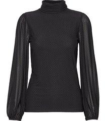 dot mesh blouse lange mouwen zwart ganni