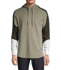 g-star raw men's baseball drawstring hoodie - green - size s