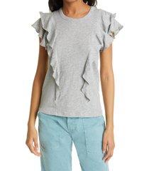 women's veronica beard bea ruffle t-shirt, size x-small - grey