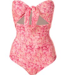 adriana degreas printed tie knot swimsuit - pink