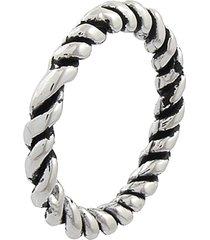 anel narcizza torcido com detalhes escuros banhado no ródio - tricae