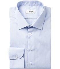camicia da uomo su misura, canclini, azzurra microrigata, quattro stagioni | lanieri