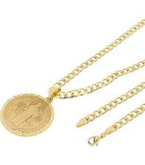 kit medalha são bento tudo joias com corrente grumet 5mm e 60cm folheado a ouro 18k