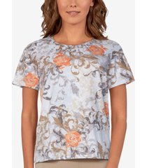 alfred dunner petite classics floral-scroll top