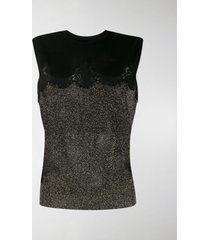 dolce & gabbana glittery lace knitted top