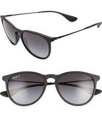 ray-ban erika classic 54mm sunglasses - black/ grey grad grey polar