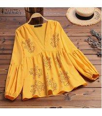 zanzea s-5xl de las mujeres de la linterna de la manga ocasional de la camisa larga de las tapas flojas de la impresión floral de la blusa del tamaño extra grande -amarillo