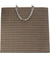 victoria beckham tweed shopping tote bag - brown