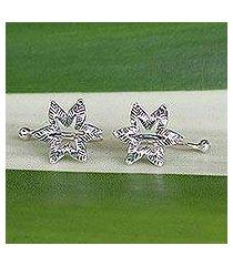 sterling silver ear cuffs, 'floral summer' (thailand)