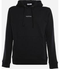 valentino cotton hoodie with logo print