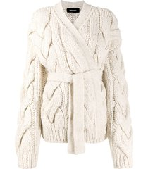 dsquared2 chunky cable knit cardigan - white