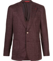 isaia capri sports single-breasted blazer - red