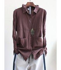 camicette vintage tascabili a maniche lunghe di puro colore