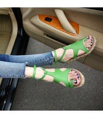 sandalias planas correa del tobillo verano mujeres zapatos romanos pescador