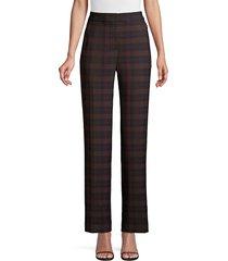 elie tahari women's leena straight leg plaid pants - brown plaid - size 0