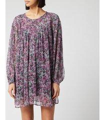 isabel marant women's orion blooming silk m dress - faded night - fr 40/uk 12