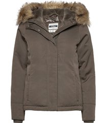 anf womens outerwear fodrad jacka grön abercrombie & fitch