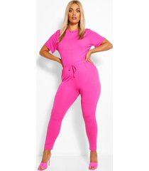 plus jersey t-shirt + legging co-ord, hot pink