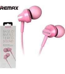 audífonos manos libres earphone 3.5 mmremax rm-501 rosado