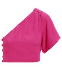 top cropped ombro só - rosa