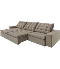 sofá 5 lugares retrátil e reclinável di qualitá inovare, 290 cm, marrom