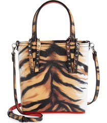 christian louboutin cabata small punk leather tote - brown