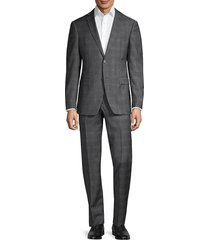 john varvatos star u.s.a. men's standard-fit plaid wool suit - charcoal - size 42 r
